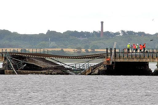 The collapsed section of rail track at Malahide Viaduct, north Dublin in August 2009