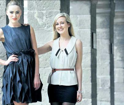 Clarisse Walsh with model Sarah Morrissey, wearing the winning dress. SASKO LAZAROV