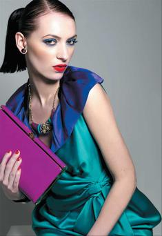 Dress, €1,450, Prada, Brown Thomas. Scarf (worn as collar), €95, Matt Doody. Necklace, €25.50; clutch, €42, both Accessorize. Cuff, €18, Warehouse. Earrings, model's own