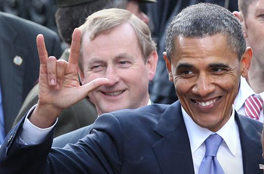 US President Barack Obama gestures to the crowd after speaking in College Green. Photo: Getty Images