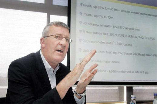 Michael Cawley, Ryanair chief operating officer and deputy chief executive, presenting ther airline's full year results for the period ended March 31, 2011 yesteday in Davy House, Dublin