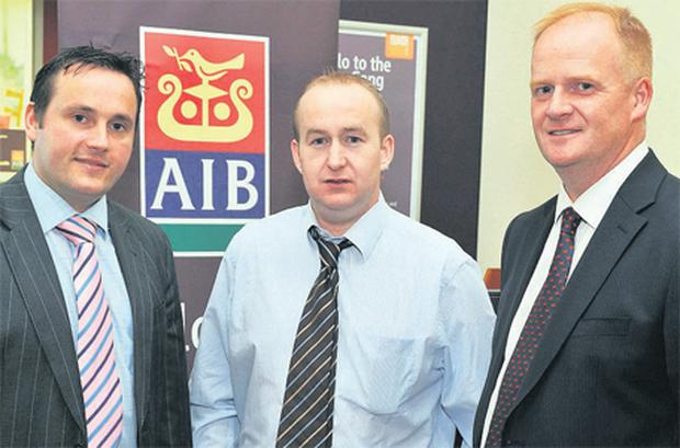 Donal Whelton, AIB agri adviser; Teagasc economic researcher Laurence Shalloo; and Denis Dudley, manager of AIB Bandon, prepare themselves ahead of speaking at last week's AIB seminar on the outlook for the farming sector, which took place at the AIB in Bandon, Co Cork