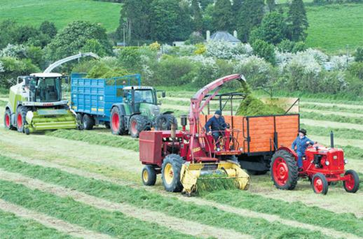 This A New Holland 1880 self-propelled silage harvester, made in 1969, driven by Martin O'Sullivan, Innishannon, and a Nuffield 10/60 tractor, made in 1967, driven by Barry Twohig, Crossbarry