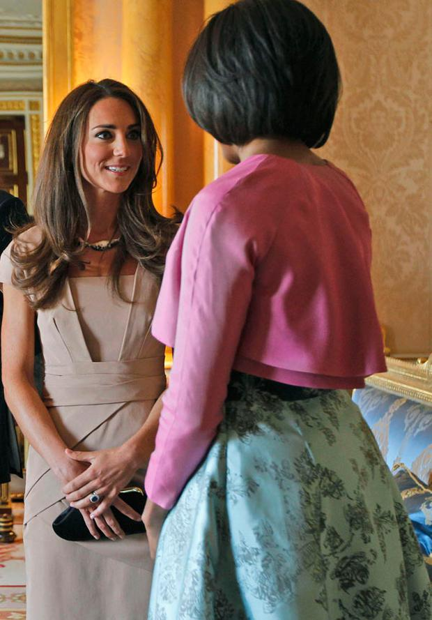 Duchess of Cambridge meets Michelle Obama at Buckingham Palace. Photo: Getty Images