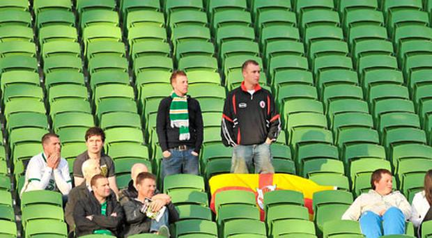 Irish fans at a sparsely attended Aviva Stadium last night as the Republic of Ireland ran out 5-0 winners against Northern Ireland.