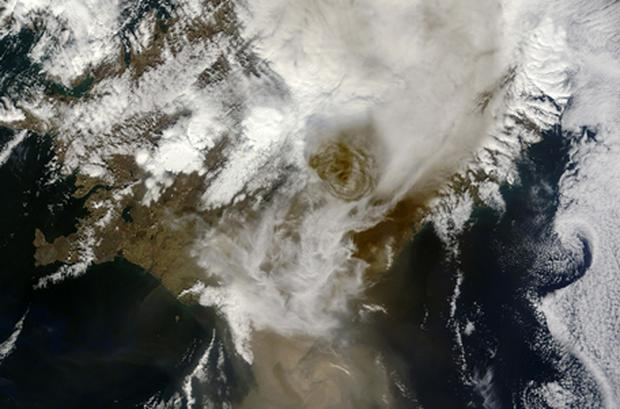 Satellite image provided by NASA, shows Grimsvotn volcano emmiting ash plume on May 21. Photo: Getty Images