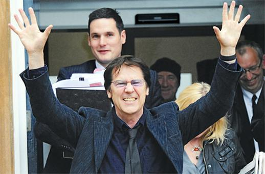 Shakin' Stevens leaves Ballymena court yesterday after his assault conviction against photographer Hugo McNeice was overturned