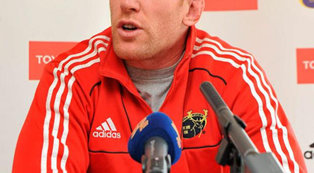 Paul O'Connell answers questions at a press conference yesterday. Photo: Diarmuid Greene / Sportsfile
