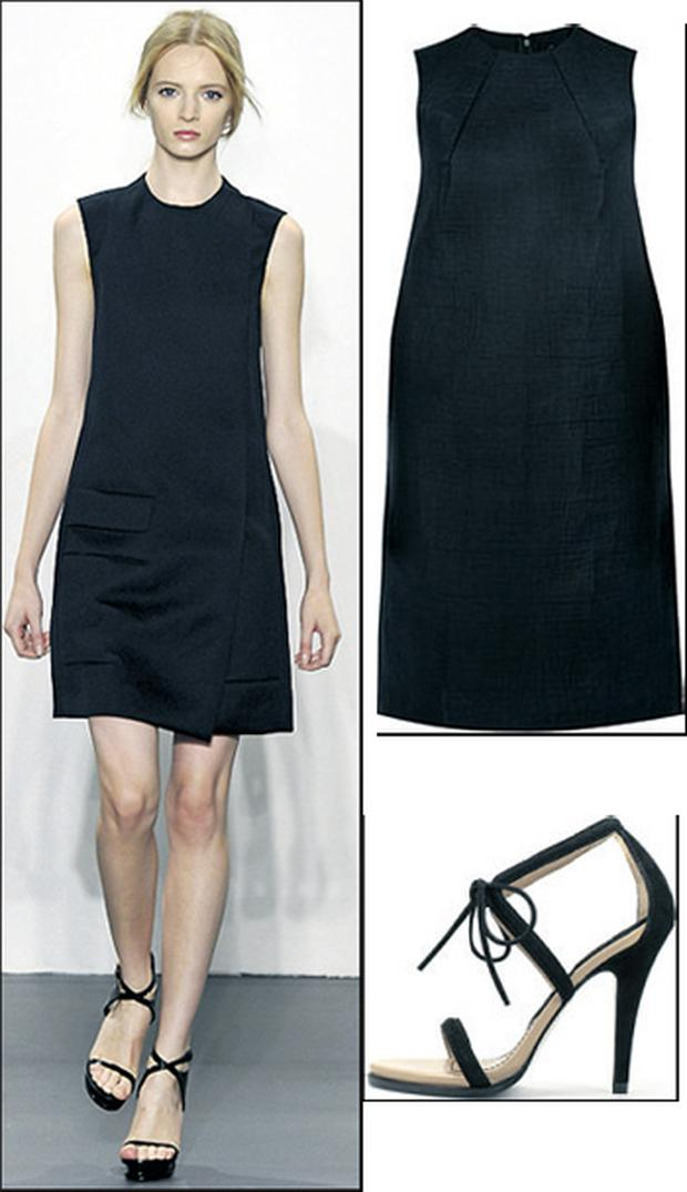 Structured linen shirtdress, €99 by Cos at BT2, ; Suede sandals, €79.95 at Zara, 40-43 South King Street