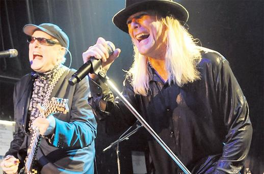 That '70s show: Rick Nielsen and Robin Zander of Cheap Trick toured with the likes of The Kinks and AC/DC. Inset: the band during their heyday with Rick left
