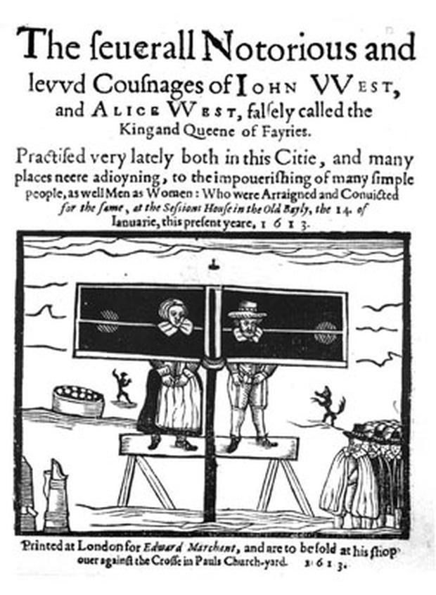A couple in the stocks in England after being accused of using magic