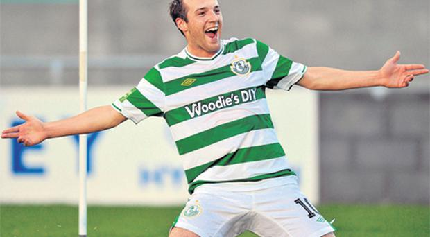 Karl Sheppard celebrates scoring the winning goal for Shamrock Rovers against Bohemians last night