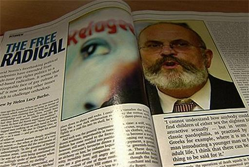 The re-emergence of the 2002 interview (pictured) with Helen Lucy Burke in 'Magill' has dealt a blow to David Norris's presidential election campaign
