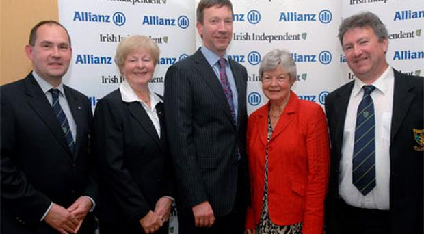 Third: Rossmore captain Michael Liddle, lady captain Margaret Treanor, Anthony Shannon (Allianz Claims Director), Margaret Gowdy (lady captain Malone), and Stephen Morrissey (Hon Sec Rossmore)