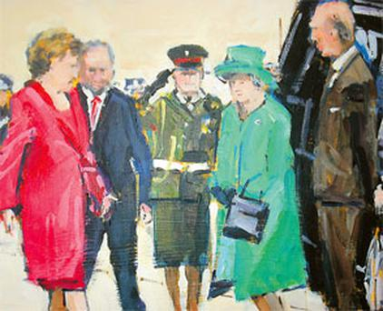 A painting of the queen's first state visit by artist Michael Hanrahan
