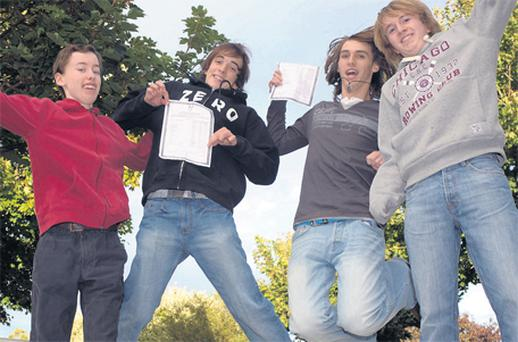 Junior Cert students from Skerries Community College in Skerries, Co Dublin, (left to right) Daniel Condren, Zachary Diebold, Liam Devereux and Stuart Warren, celebrate their results last year