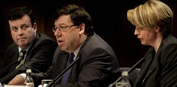 Former Cabinet members Finance Minister, Brian Lenihan, Taioseach Brian Cowen and Tanaiste Mary Coughlan. Photo: Steve Humphreys