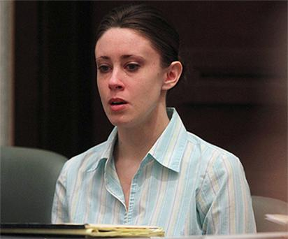 Casey Anthony in tears at the start of the third day of her first degree murder trial in Florida. Photo: Reuters