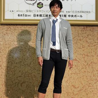 A model in casual office wear during a 'Super Cool Biz' fashion show in Japan (AP)