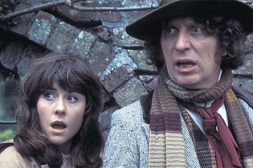 In fear of the Daleks: Elizabeth Sladen and Tom Baker had many battles with the Daleks