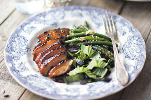 CRISPY STICKY DUCK WITH GREEN BEANS AND A PAK CHOY SESAME SALAD