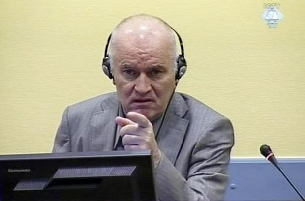 FINGER POINTING: Ratko Mladic at The Hague