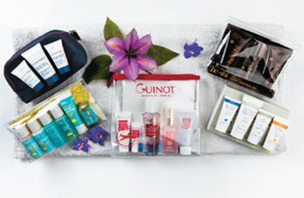 Pictured, from left: Discovery Clarins Men Travel Kit; Bliss lemon+sage Sink-Side Six Pack; Guinot Travel Secrets; He-Shi 3-Step Discovery Kit; Ren Kit for Combination Skin
