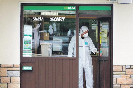 The post office in Oulart, Co Wexford, where the postmistress and her son were hit by pellets from a shotgun blast