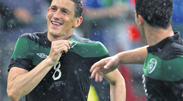 Keith Andrews celebrates giving Ireland the lead against Italy last night