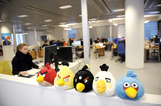 Angry Birds soft toys perched on top of the filing cabinets at Rovio headquarters in Espoo, Finland. Photo: Getty Images