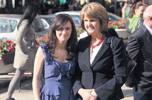 Social Protection Minister Joan Burton with her daughter Aoife at Leinster House