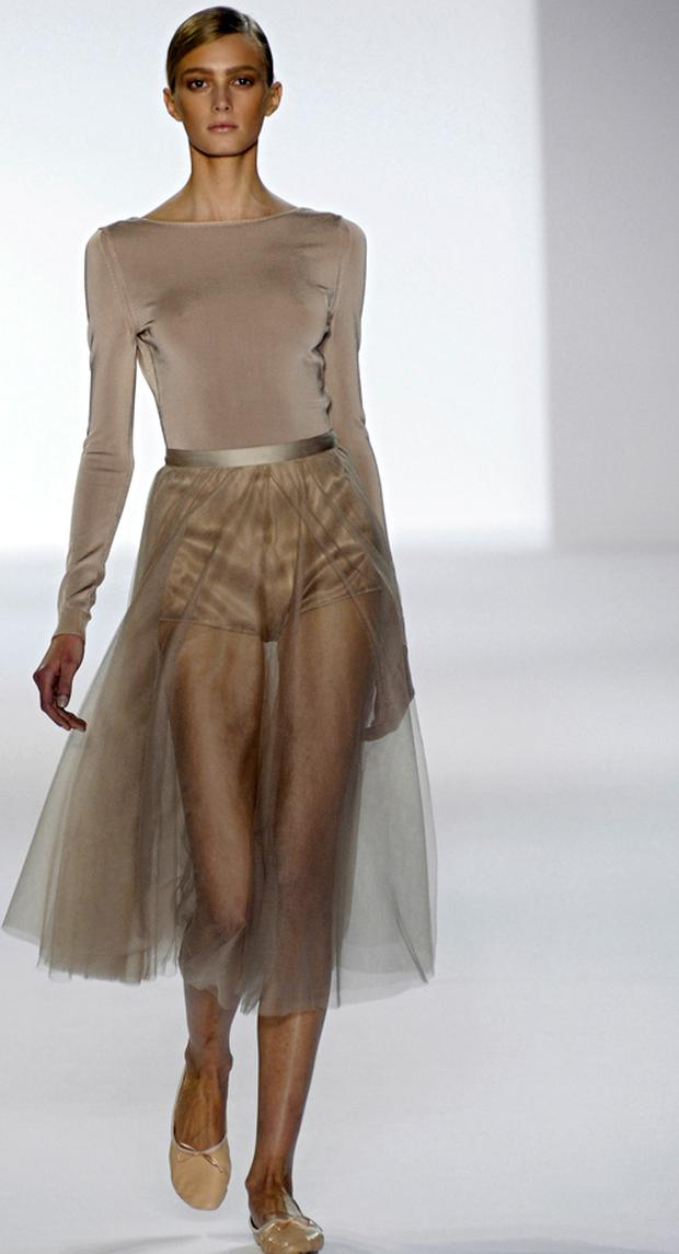 A model wears a chiffon skirt by Chloe. Photo: Getty Images