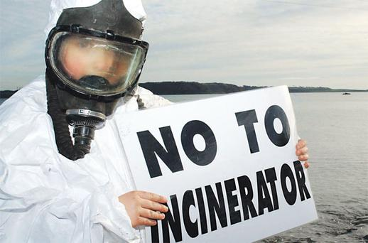 Sarah Jones protesting in 2004 at the proposed incinerator site at Ringaskiddy, Cork.