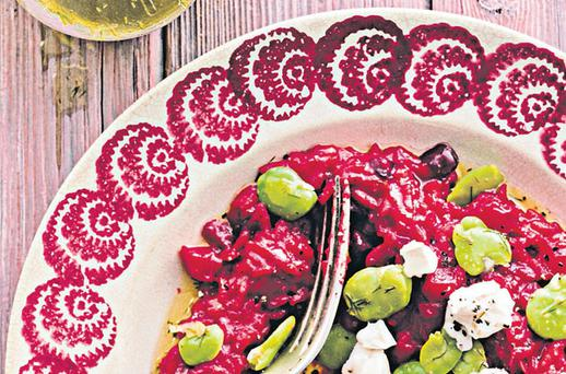 BEETROOT RISOTTO WITH LEMON-FENNEL OIL, GOAT'S CHEESE AND BROAD BEANS