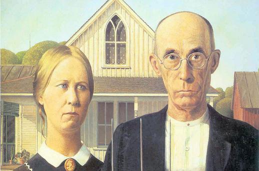 GET THE HELL OFF MY LAND: The joys of mortgages are... eh, 'celebrated' in Grant Wood's iconic painting American Gothic