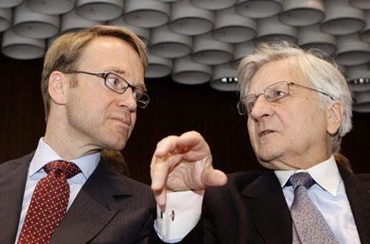 German central Bank president Jens Weidmann with ECB president Jean-Claude Trichet. Photo: Getty Images