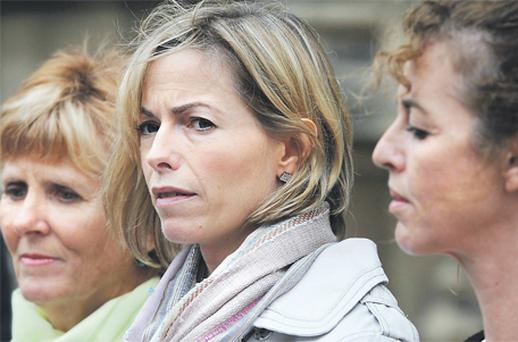 Kate McCann (centre) in London yesterday with Sarah Godwin (left) and Nicki Durbin, all of whom testified before MPs about their missing children