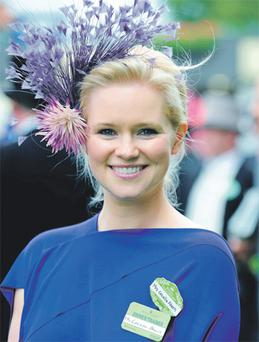 Cecelia Ahern was all smiles at Royal Ascot yesterday as a horse she owns with her husband David Keoghan, 'Lolly for Dolly', landed the Windsor Forest Stakes at odds of 11-1