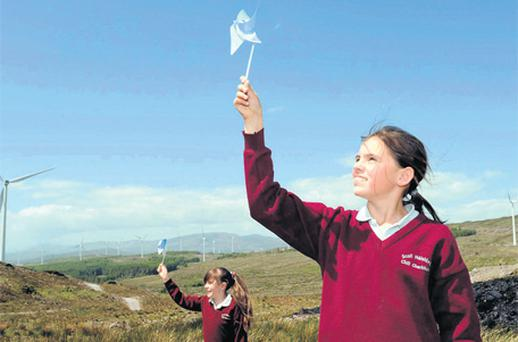 Patricia O'Shea and Siobhan Dillon from Kilgarvan national School in County Kerry at The Bord Gais Energy Global Wind Day at the Kilgarvan Wind Farm, Co. Kerry. Photo: Don MacMonagle