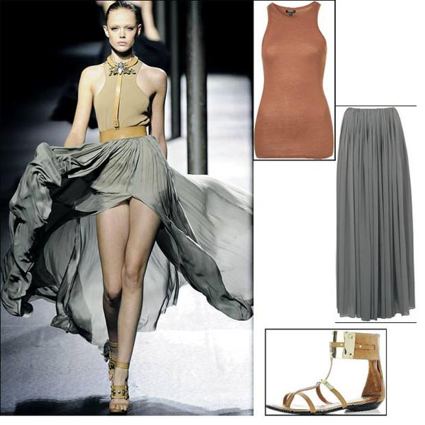 Skirt by Autograph, €67 at Marks & Spencer; Vest €9 topshop.com; Cuff sandal, €68 at River Island