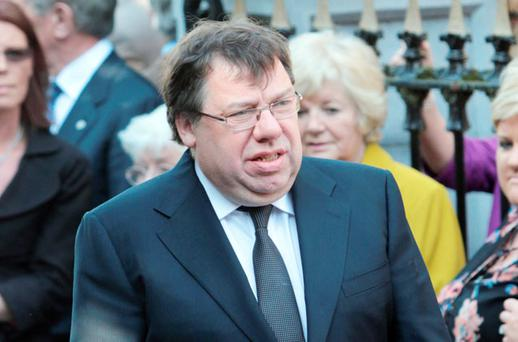 Former Taiseach Brian Cowen at the removal of former finance Minister Brian Lenihan at St Mochta' s Church, Porterstown. Photo: Mark Condren