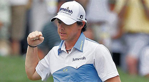 Rory McIlroy celebrates a birdie on the 11th during his third round in the US Open