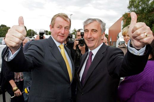 CONTENDER: Taoiseach Enda Kenny with FG candidate Gay Mitchell