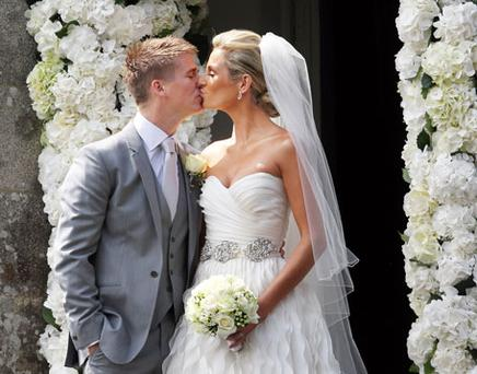 Brian Ormond and Pippa O' Connor who married at St Patrick' s Church, Curtlestown, Co. Wicklow. Photo: Tony Gavin
