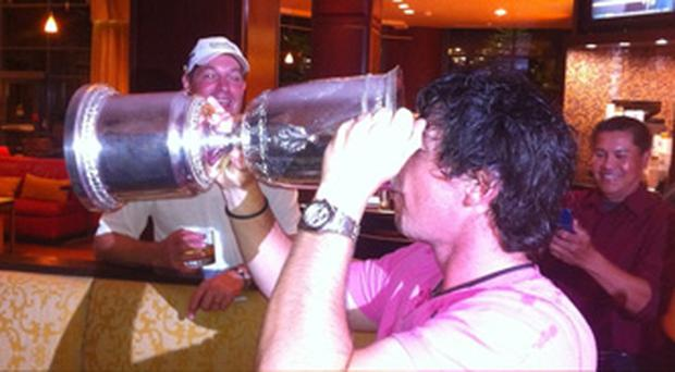 Rory McIlroy posted this picture of himself on Twitter drinking from the US Open trophy