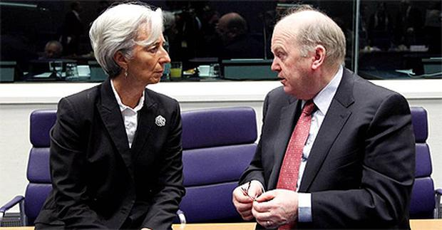 Finance Minister Michael Noonan pictured with French Finance Minister Christine Lagarde at the Eurogroup meeting of finance ministers in Luxembourg. Photo: Reuters
