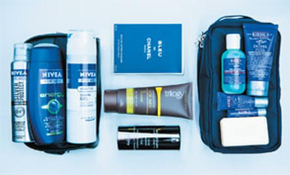 Pictured, clockwise from left: Nivea for Men Essential Wash Bag Kit; Chanel Bleu de Chanel After Shave Balm; Kiehl's The Sartorialist Kit; Sisleyum for Men Anti-Age Global Revitaliser; Trilogy Natural Actives for Men Face Wash + Scrub