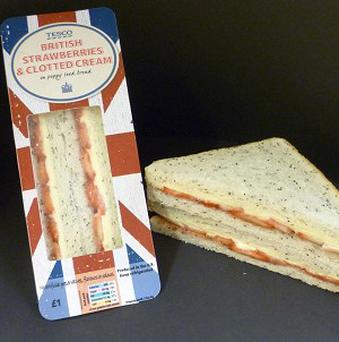 Tesco is launching its new strawberries and cream sandwich as Wimbledon gets under way