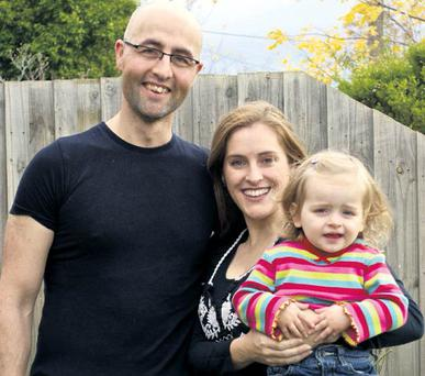 Baby joy: Christopher Scanlon and Kasey Edwards couldn't wait to have their daughter Violet, now 22 months