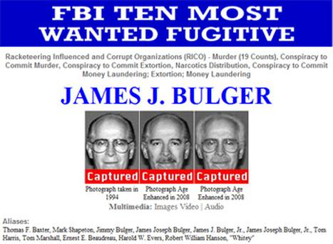 A screenshot from the FBI's website highlighting the capture of James Bulger